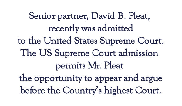 Pleat & Perry annoucement David Pleat admitted to U.S. Supreme Court